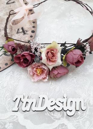 Венок на голову в сливово-розовом цвете
