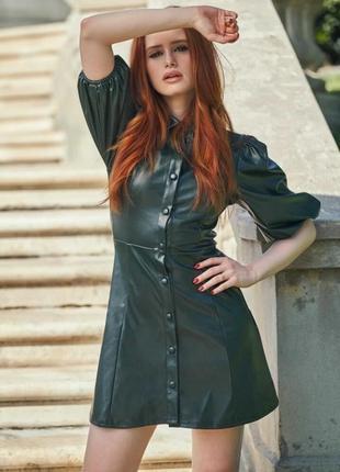 Madelaine × shein коллекция платье из искусственной кожи с пышными рукавами