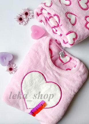 Теплая плюшевая пижама в сердечки love to lounge primark