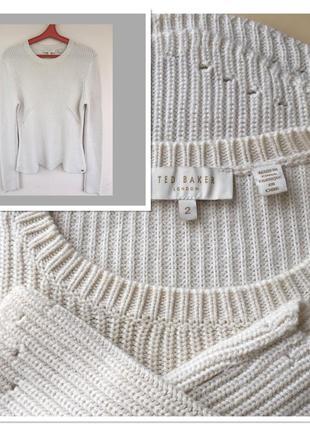 Фирменный шерстяной свитер с кашемиром и фактурной вязкой tom baker london