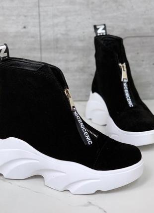 Шикарные замшевые ботинки на платформе, тёплые ботинки из натуральной замши.