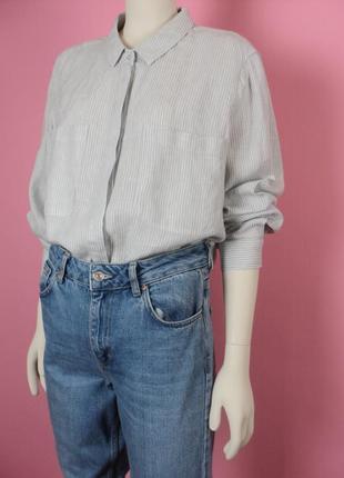 Рубашка большого размера marks&spencer льняная в полоску серая длинным рукавом воротником