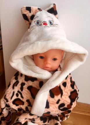 Махровый халат леопардовый