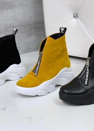Шикарные кожаные ботинки на платформе,тёплые ботинки из натуральной кожи.