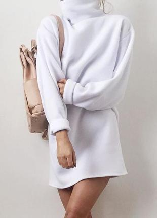 Теплое платье туника на флисе, байка, белое платье, зимнее платье, тренд