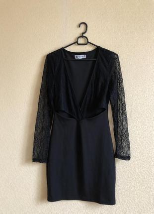 Платье с кружевом чёрное нарядное вечернее декольте