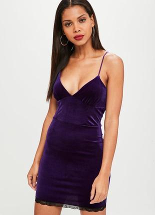 Велюровое, бархатное фиолетовое платье missguided с кружевом , xl