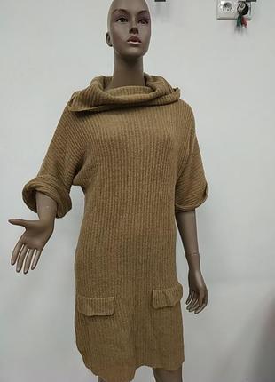 Вязаное платье туника с горлом