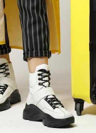 Белые натуральные кожаные зимние ботинки на платформе с шнуровкой, ботинки кожа зима