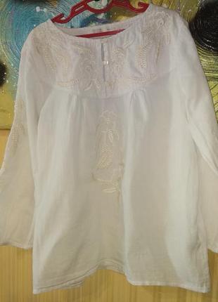 Белая блузка с вышивкой zara для  девочки