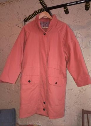 Дизайнерское коралловаое пальто овер сайз!