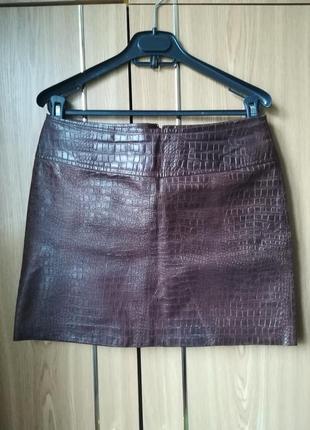 Кожаная юбка короткая 100% натуральная кожа