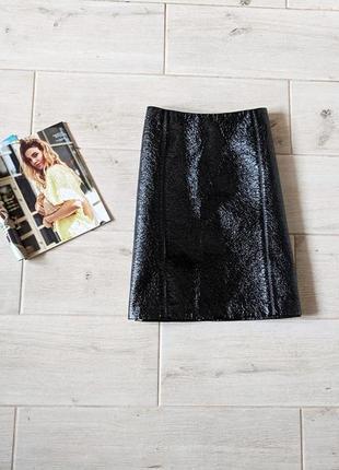 Стильная лаковая юбка прямого кроя m l