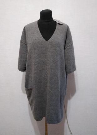 Стильный теплый шерстяной джемпер большого размера
