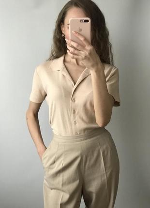 Винтажная нюдовая трикотажная рубашка блуза бежевая персиковая укорочённый рукав короткий