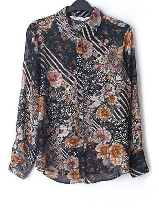 Легкая шифоновая рубашка zara • р-р  l