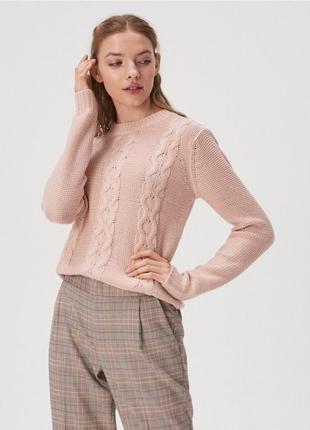 Красивий в'язаний рожевий светр oodji /  вязаный розовый свитер oggi
