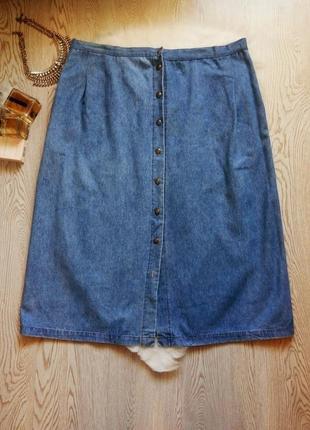 Голубая плотная джинсовая юбка миди трапеция солнце с карманами батал большой ра