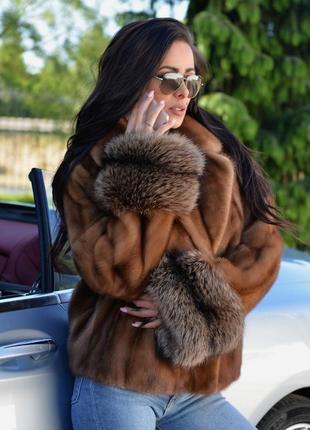Норковая шуба норковый полушубок манжеты чернобурка финский аукцион хит продаж