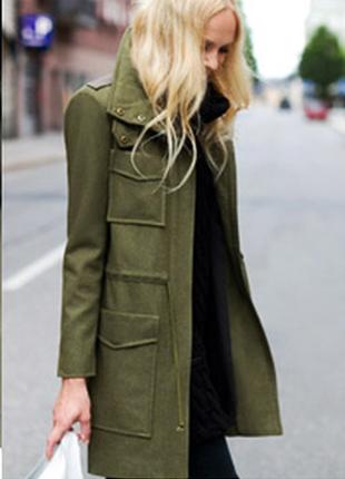 Брендовое демисезонное пальто полупальто с карманами flashlights шерсть цвет хаки этикетка