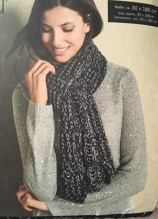 Теплый вязаный шарф 180*30 размер esmara германия