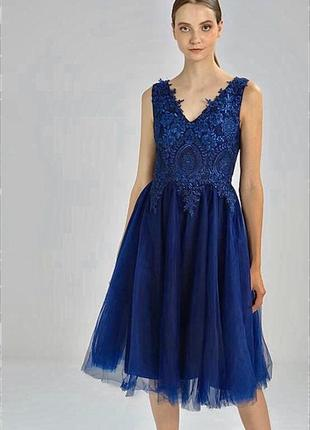 Новое вечернее выпускное свадебное платье миди chi chi london asos пышное синее