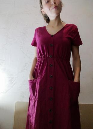 Платье миди на пуговицах с карманами