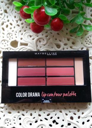 Новая палетка помад maybelline color drama lip contour palette № 02