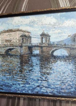 """Картина """"мост"""", вышивка крестиком"""