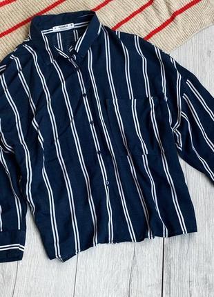 Рубашка короткая, сорочка в полоску