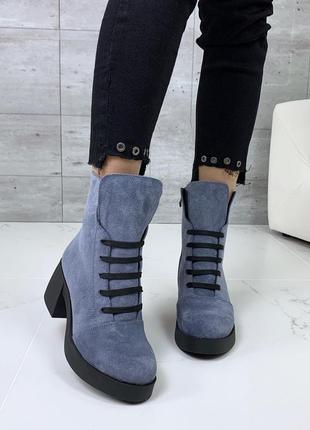 Шикарные высокие замшевые ботинки на каблуке,яркие ботинки из натуральной замши.