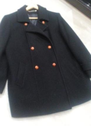 Чёрное двубортное шерстяное пальто оверсайз  berkertex