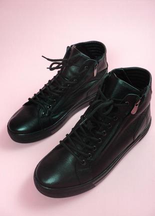 Новые мужские зимние кроссовки на меху respect натуральная кожа кеды черные ботинки сапоги
