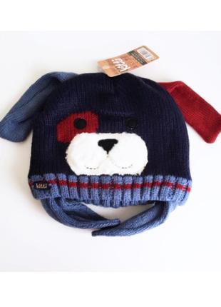 4-12л шапка дружок теплая на флисе kitti ушки закрытые 50-56 зима /cool деми синий/бордо