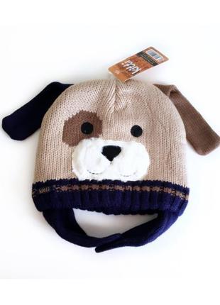 4-12л шапка дружок теплая на флисе kitti ушки закрытые 50-56 зима /cool деми беж/синий