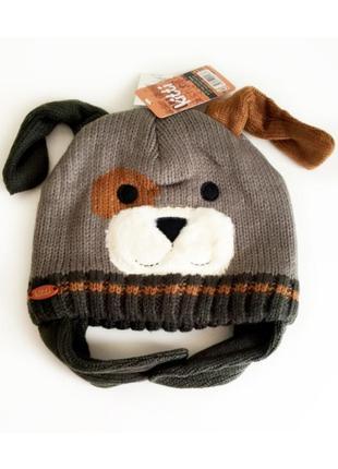 4-12л шапка дружок теплая на флисе ушки закрытые 50-56 зима /cool деми зеленый /коричневый