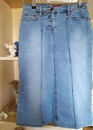 Фирменная котоновая юбка-миди,качество,р.42-44.