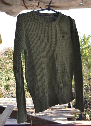 Джемпер свитер хакки болотный с косичкой поло