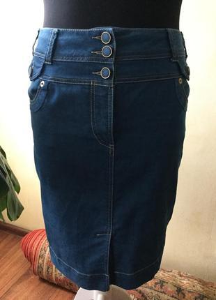 Обалденная,стильная, джинсовая узкая юбка next,высокий пояс, 20 размер
