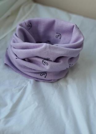 Новый фиолетовый детский шарф-снуд (бафф) с принтом якорь