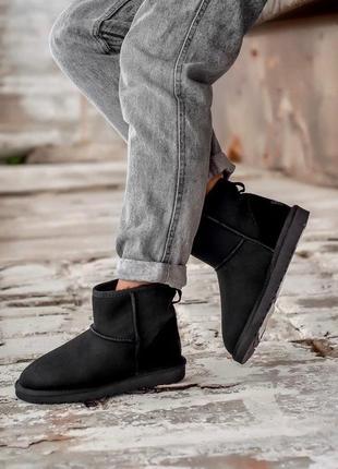 Ugg mini black! женские замшевые зимние угги/ сапоги/ ботинки/ луноходы😍(с мехом)