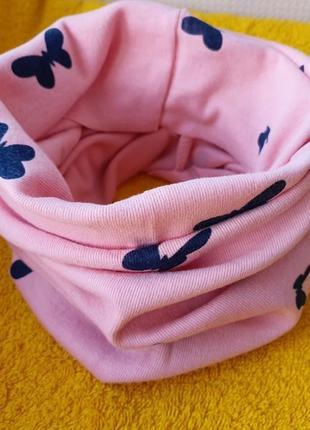 Новый розовый детский шарф-снуд (бафф) с принтом бабочки