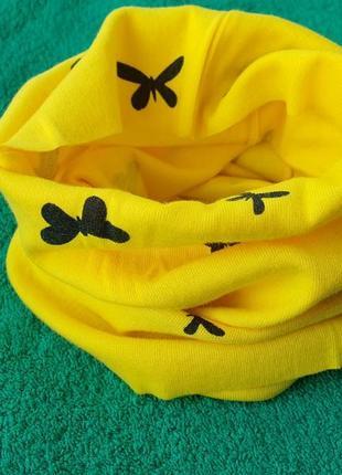 Новый желтый детский шарф-снуд (бафф) с принтом бабочки