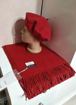 Комплект чешский фетровый берет tonak fezko и зимний палантин в тон красный