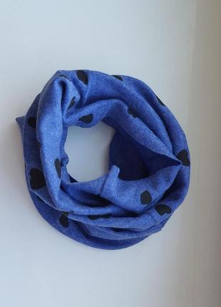 Новый синий детский шарф-снуд (бафф) с принтом сердечки