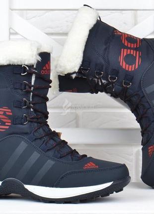 Adidas climaproof дутики женские кожаные зимние сапоги синие с красным