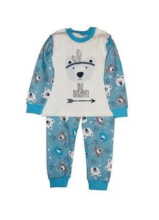 Пижама голубая на байке с принтом для мальчика, кена, 407123