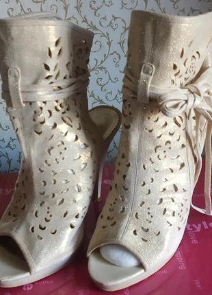 Босоножки туфли золотые