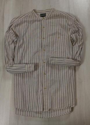 Без воротника приталенная рубашка mens casual мужская в полоску