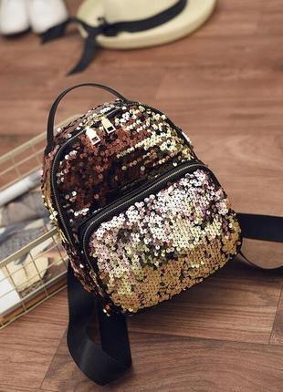 Рюкзак мини женский черный с красно-золотыми пайетками